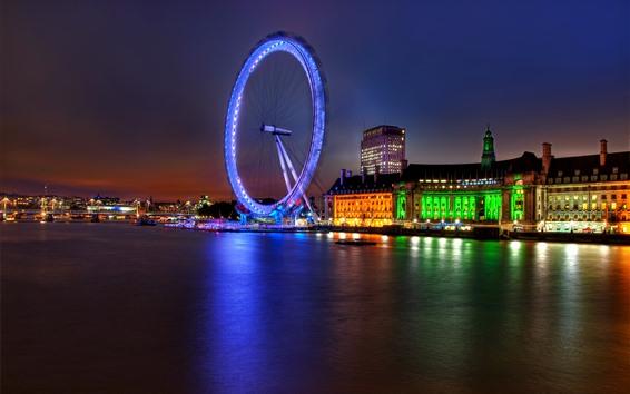 Обои Лондон, Англия, город, ночь, река, колесо обозрения