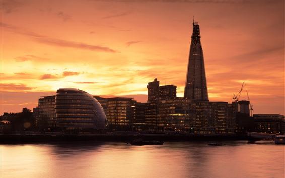 Wallpaper London, Thames, buildings, sunset, England