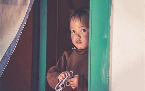 Papéis de Parede Menina só da criança, porta