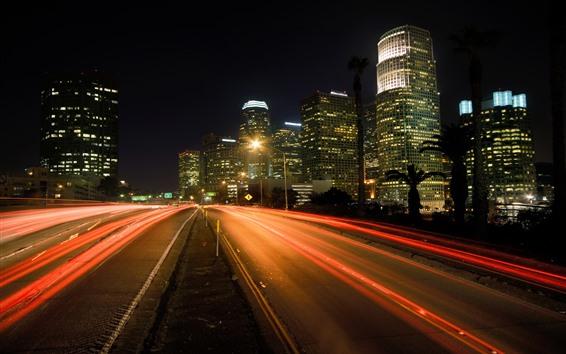 Fondos de pantalla Los Ángeles, ciudad, rascacielos, camino, líneas de luz, noche, Estados Unidos