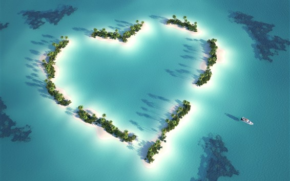 Wallpaper Love heart, beach, sea, palm trees, boat, top view