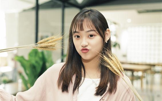 壁紙 素敵なアジアの女の子、小麦、遊び心