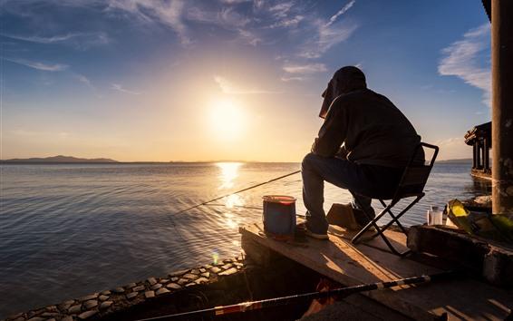 Fondos de pantalla Hombre, pesca, lago, salida del sol, mañana