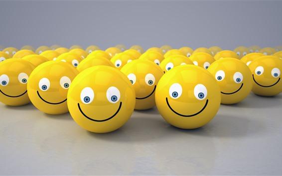 Fondos de pantalla Muchas caras sonrientes amarillas, diseño 3D