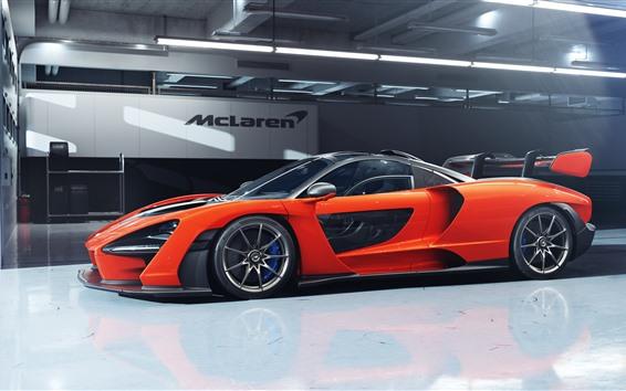 Papéis de Parede Vista lateral do supercarro McLaren Senna laranja