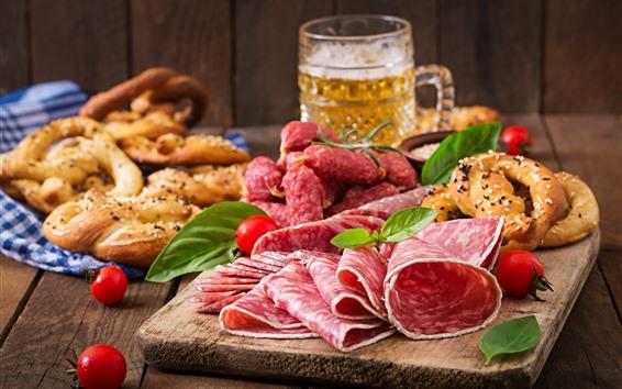 배경 화면 고기, 소시지 용 얇게 써는 기계, 맥주, 토마토