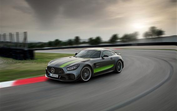 Обои Mercedes-Benz AMG GT R PRO серая скорость автомобиля