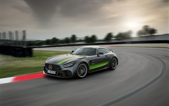 Wallpaper Mercedes-Benz AMG GT R PRO gray car speed