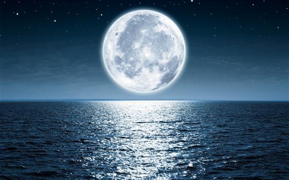 Fondos de pantalla Luna, mar, brillante