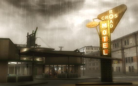 Fondos de pantalla Motel, lluvia, Anime