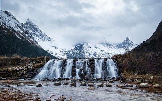 Fondos de pantalla Monte Siguniang, nieve, cascada, piedras, China