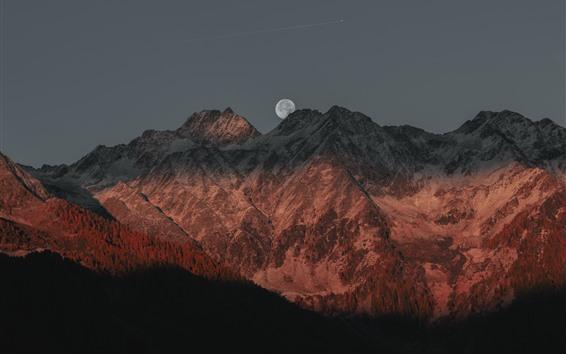 Fondos de pantalla Montaña, sombra, luna, atardecer.
