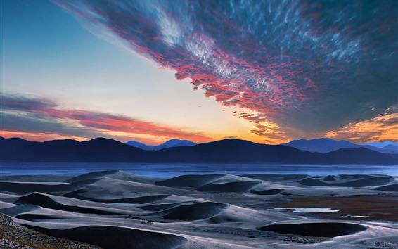 Fondos de pantalla Montañas, colinas, río, cielo, nubes, puesta de sol