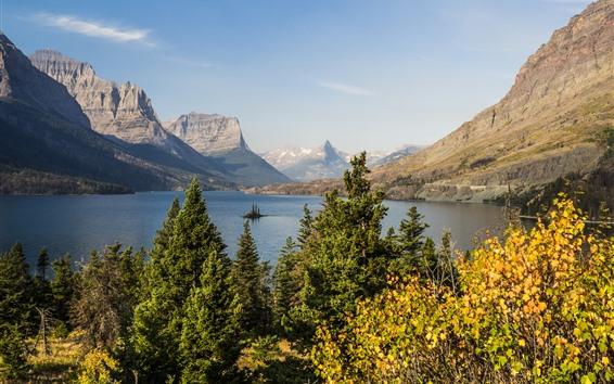 Fondos de pantalla Montañas, lago, árboles, paisaje de la naturaleza