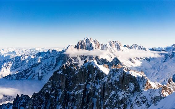 Fondos de pantalla Montañas, picos, nieve, invierno.