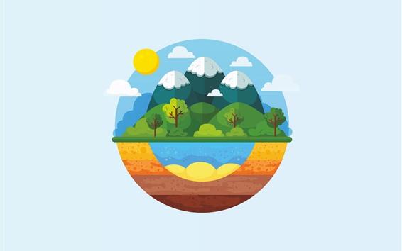 Papéis de Parede Montanhas, árvores, nuvens, sol, planeta, retrato da arte