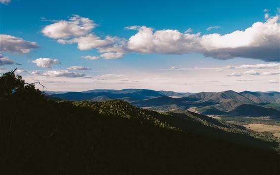 Fondos de pantalla Montañas, Valle, nubes, sombras