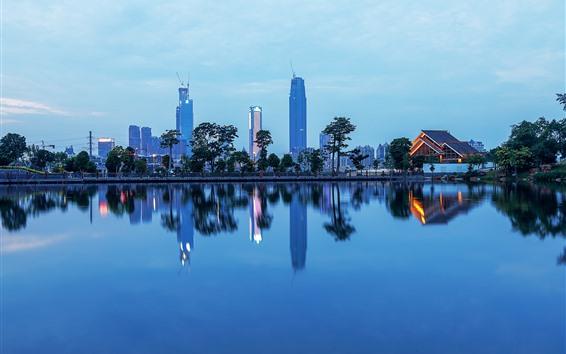 Fondos de pantalla Nanning, ciudad, rascacielos, parque, lago, oscuridad, China