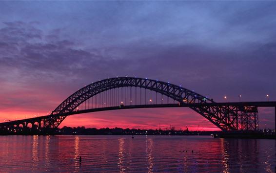 Fondos de pantalla Nueva Jersey, Estados Unidos, puente, río, noche