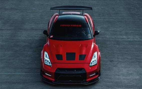 Fondos de pantalla Nissan GT-R R35 vista frontal del coche rojo