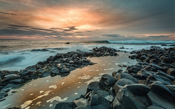 Fondos de pantalla Irlanda del norte, calzada del gigante, rocas, mar, puesta de sol