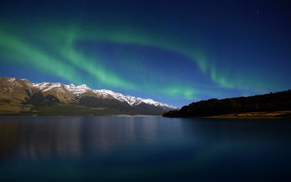 Wallpaper Northern light, lake, mountains, nature landscape