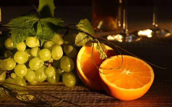 Fondos de pantalla Naranja y uvas, fruta