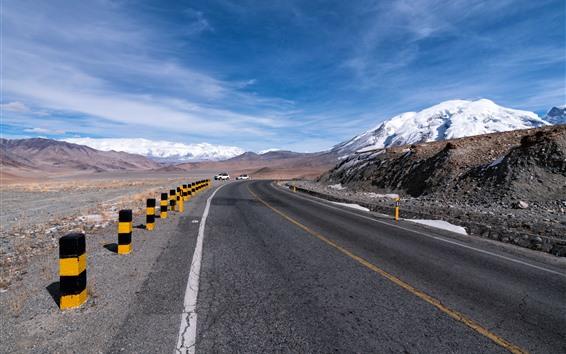 Fondos de pantalla Pamir, montañas, nieve, carretera, coches.