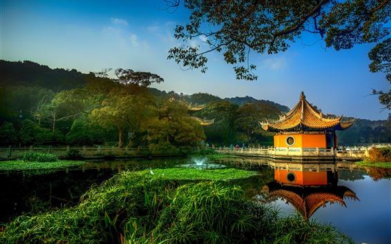 Fondos de pantalla Parque, gazebo, árboles, lago, China