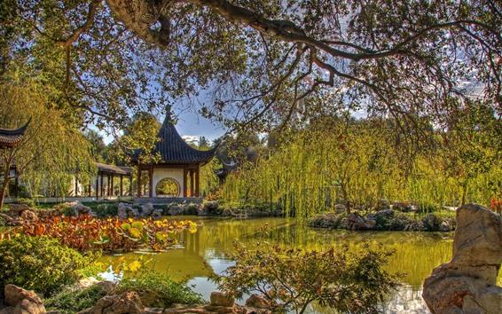 Fondos de pantalla Parque, estanque, mirador, sauces, China