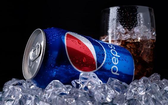Wallpaper Pepsi cola, ice cubes, drinks