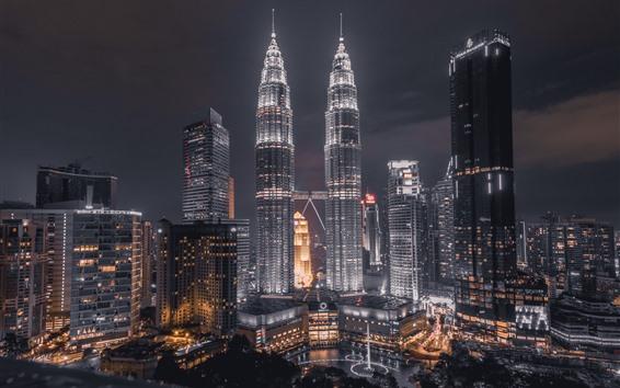 Fondos de pantalla Torres Petronas, Kuala Lumpur, Malasia, noche, luces
