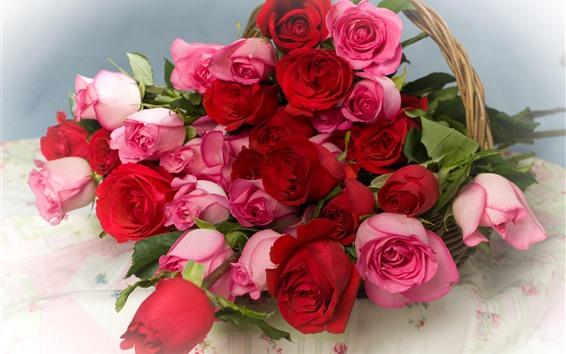 Fondos de pantalla Rosas rosas y rojas, flores, cesta.