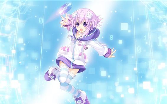 Fondos de pantalla Rosa pelo anime niña, feliz, disco.