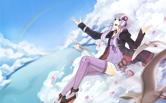 壁紙 ピンクの髪のアニメの女の子、空、雲、カモメ