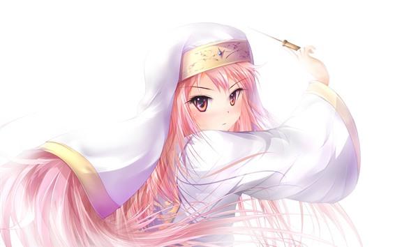 Fondos de pantalla Chica anime de pelo rosado, fondo blanco