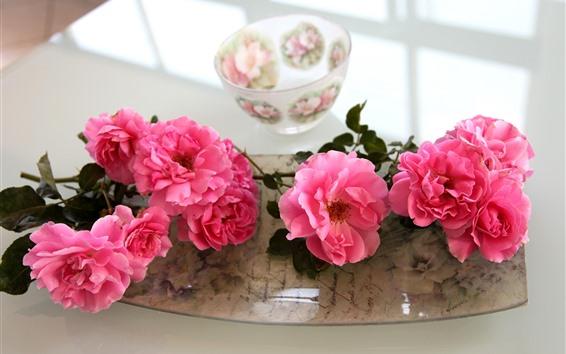 Fondos de pantalla Rosas rosadas, cuenco
