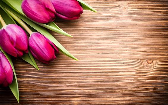 Papéis de Parede Tulipas cor de rosa, buquê, placa de madeira