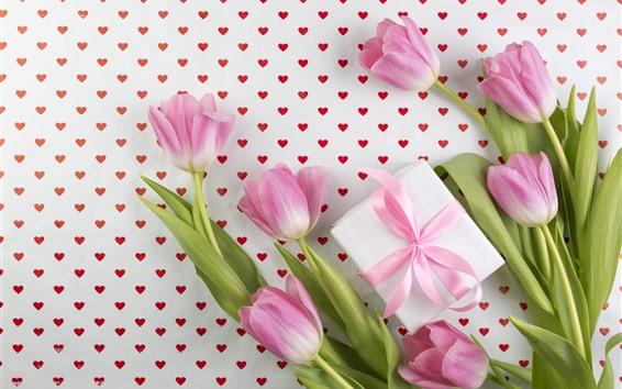 Wallpaper Pink tulips, love hearts, gift, romantic