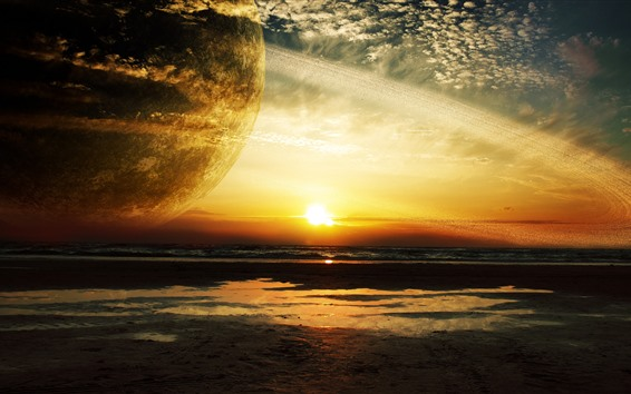 Wallpaper Planet, round ring, sea, sunset, creative picture