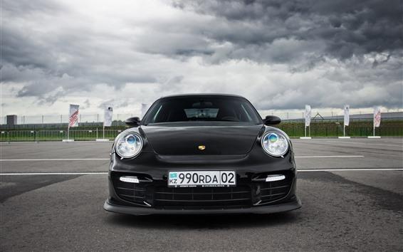 Fond d'écran Porsche 911 noir vue de face de voiture, nuages épais