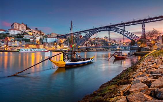 Papéis de Parede Portugal, Porto, cidade, Rio, barco, ponte, luzes, Crepúsculo