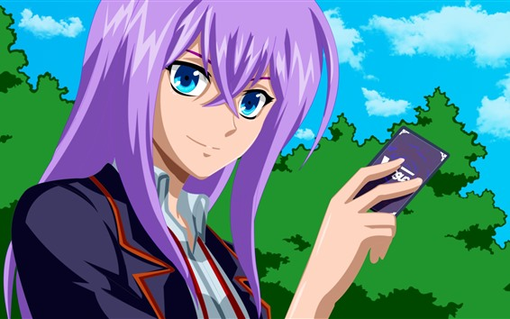 Fondos de pantalla Chica anime pelo morado, tarjeta