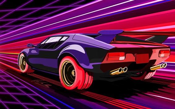 Papéis de Parede Velocidade roxa do supercarro, retrato da arte
