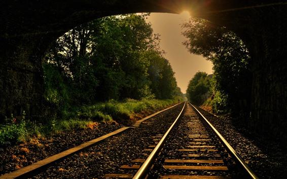 Fondos de pantalla Ferrocarril, pista, árboles, rayos de sol, túnel.