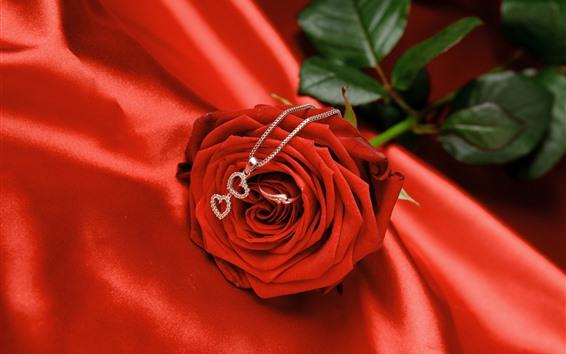 Fondos de pantalla Rosa roja, collar, anillo, romantico