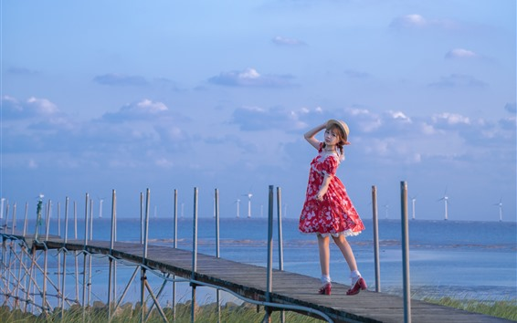 Wallpaper Red skirt girl look back, bridge, river, windmill