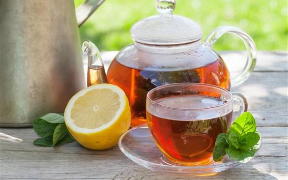 Fondos de pantalla Té rojo, limón, hervidor, taza