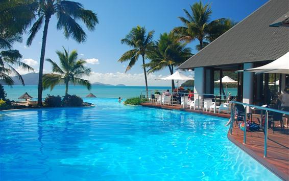 Fondos de pantalla Resort, piscina, palmeras, mar