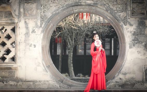 Fondos de pantalla Chica China de estilo retro, falda roja, dinastía han